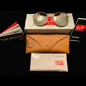 New Ray-Ban Silver Round Metal Sunglasses